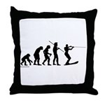 Water Ski Evolution Throw Pillow