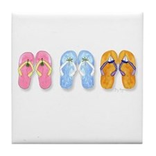 3 Pairs of Flip-Flops Tile Coaster