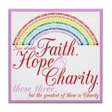 IORG-Faith,Hope,Charity Tile Coaster