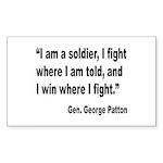 Patton Soldier Fight Quote Rectangle Sticker