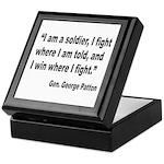 Patton Soldier Fight Quote Keepsake Box