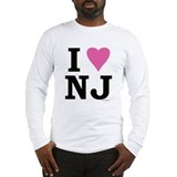 """I LOVE NJ"" Pink Long Sleeve T-Shirt"
