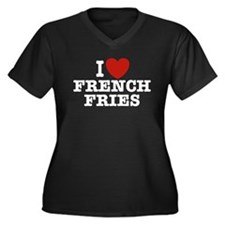 I Love French Fries Women's Plus Size V-Neck Dark