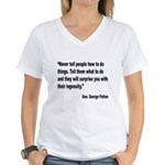 Patton Ingenuity Quote (Front) Women's V-Neck T-Sh