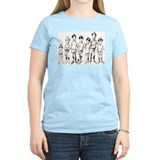 1960s Cartoon Line-up Women's Pink T-Shirt