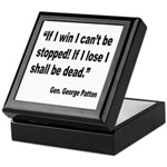 Patton Win Lose Quote Keepsake Box