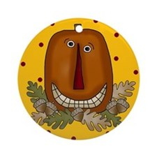 Halloween Folk Art Pimpkin Ornament (Round)