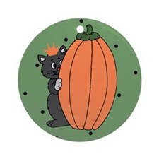 Halloween Black Cat and Pumpkin Ornament (Round)