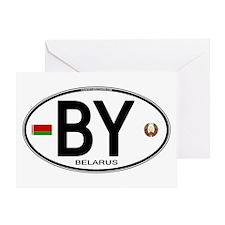 Belarus Euro Oval Greeting Card