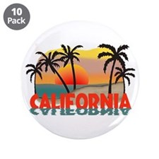 "California Beaches Sunset 3.5"" Button (10 pack)"