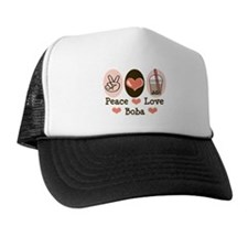 Peace Love Boba Bubble Tea Trucker Hat