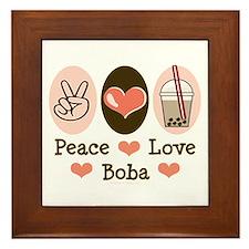 Peace Love Boba Bubble Tea Framed Tile
