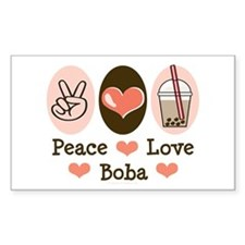 Peace Love Boba Bubble Tea Rectangle Decal