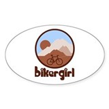 BikerGirl Sunset Sky Oval Sticker (50 pk)