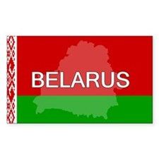 Belarus Flag + Rectangle Sticker 10 pk)