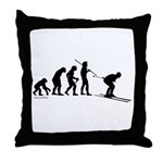 Ski Evolution Throw Pillow