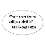 Patton Never Beaten Quote Oval Sticker (10 pk)