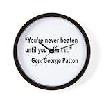 Patton Never Beaten Quote Wall Clock