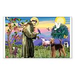 Saint Francis & Airedale Rectangle Sticker