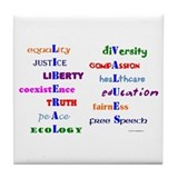 Liberal Values Tile Coaster