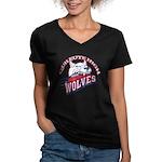 Quileute High Wolves Women's V-Neck Dark T-Shirt