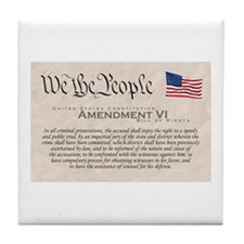 Amendment VI w/Flag Tile Coaster