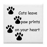 Cat Prints Tile Coaster
