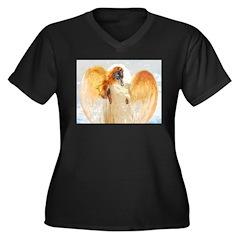 Lily Orange Angel Dachshund Women's Plus Size V-Ne