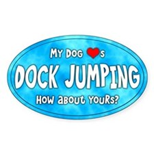 My Dog Loves Dock Jumping Oval Decal