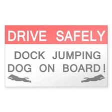 Dock Jumping Dog on Board Rectangle Decal