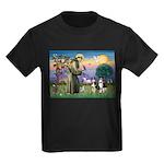 St Francis & 2 Tri Aussies Kids Dark T-Shirt