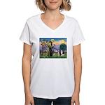 St Francis & 2 Tri Aussies Women's V-Neck T-Shirt
