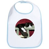 B&W Maine Coon Cat Snoozing Bib