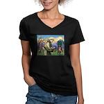 St Francis/ Aus Shep Women's V-Neck Dark T-Shirt