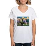 St. Francis & Beagle Women's V-Neck T-Shirt