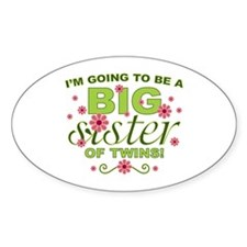 Big Sister To Be Twins Oval Sticker (10 pk)