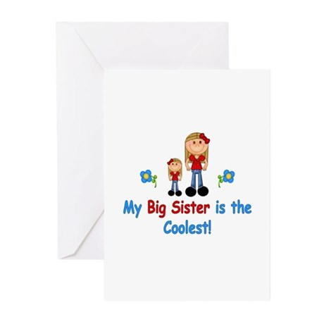 Coolest Big Sister (rwb) Greeting Cards (Pk of 10)