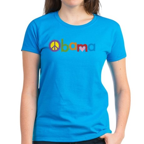 Peace, Love, Obama Women's Dark T-Shirt