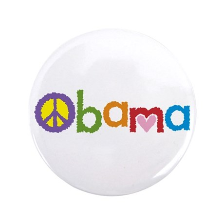 "Peace, Love, Obama 3.5"" Button"