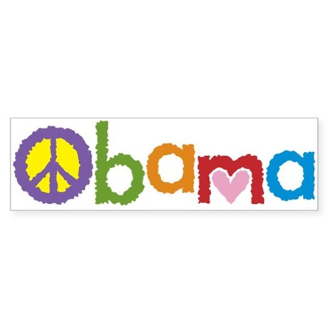 Peace, Love, Obama Bumper Sticker