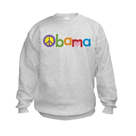 Peace, Love, Obama Kids Sweatshirt