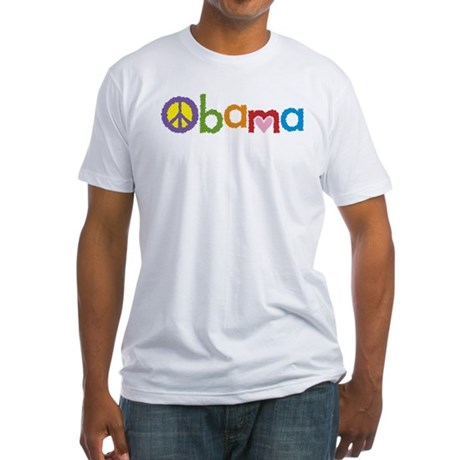Peace, Love, Obama Fitted T-Shirt
