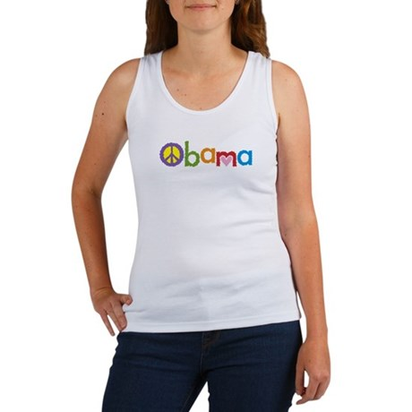 Peace, Love, Obama Women's Tank Top