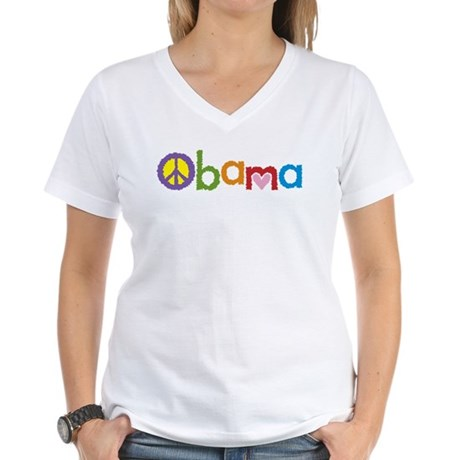 Peace, Love, Obama Women's V-Neck T-Shirt