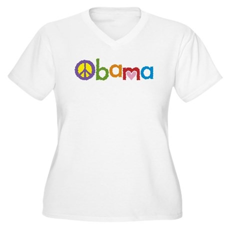 Peace, Love, Obama Women's Plus Size V-Neck T-Shir