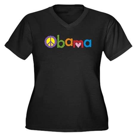 Peace, Love, Obama Women's Plus Size V-Neck Dark T
