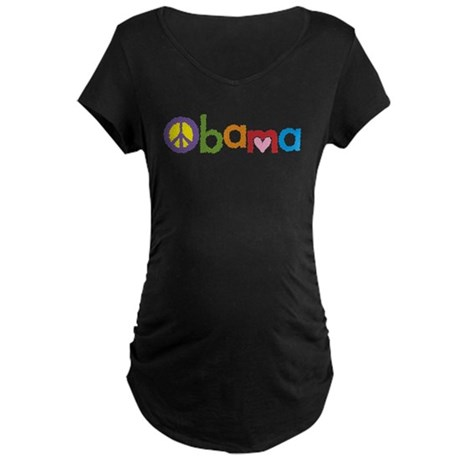 Peace, Love, Obama Maternity Dark T-Shirt