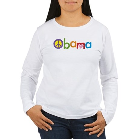 Peace, Love, Obama Women's Long Sleeve T-Shirt