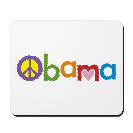 Peace, Love, Obama Mousepad