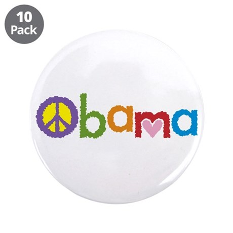 "Peace, Love, Obama 3.5"" Button (10 pack)"
